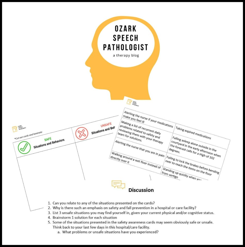Workbooks speech therapy workbooks : FREE Printable: Safety Awareness Cards – Ozark Speech Pathologist
